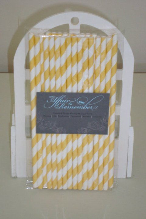 Paper Straws - Yellow- Pk 25