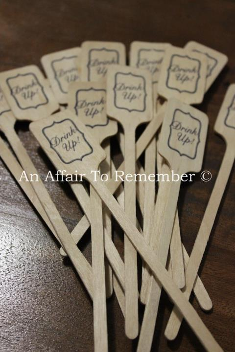 Drink Up! Wooden Cocktail Stirrers
