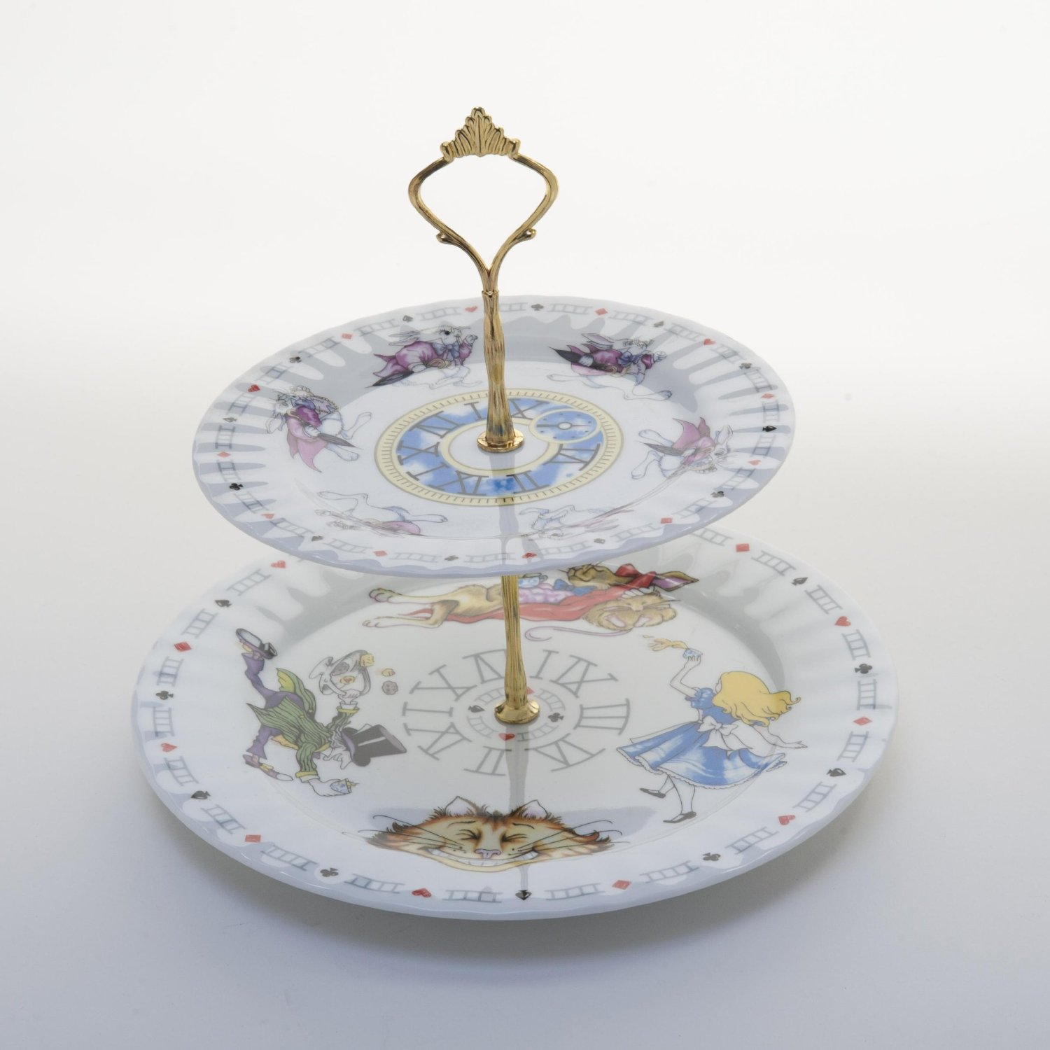 Alice In Wonderland 2 Tier Cake Stand