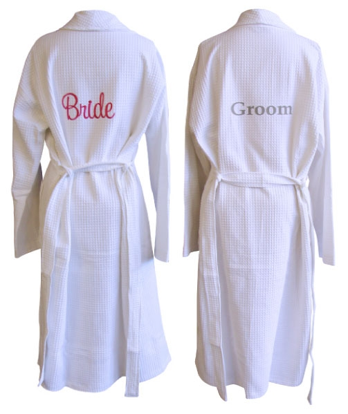 Bride and Groom Waffle Robe Set