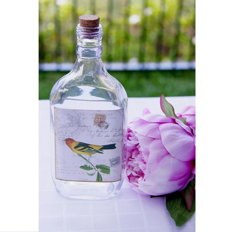 Vintage Bird Glass Bottle