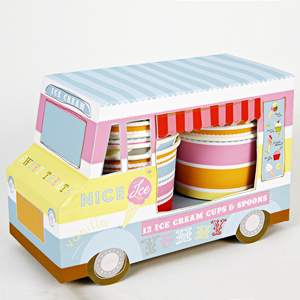 Ice Crème Van with 12 Cups & Spoons