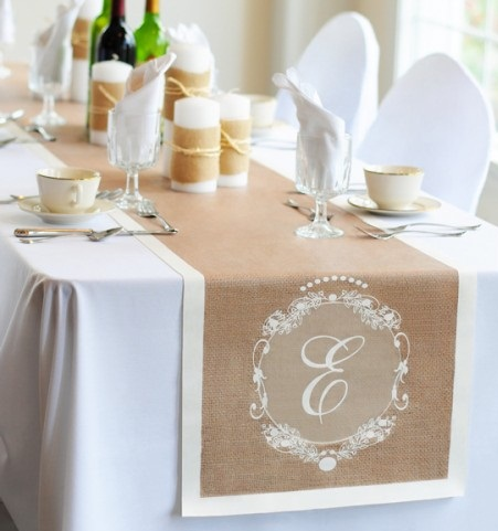 "Monogramed Table Runner - 16"" x 120"""
