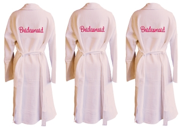 Bridesmaids Embroidered Waffle Bathrobe Set