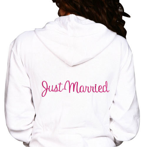 Just Married Embroidery Hoodie
