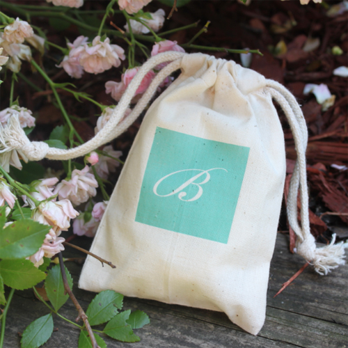 Monogram Muslin Favor Bag