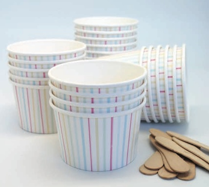 Gelati Strip Ice Cream Cups & Wooden Spoons