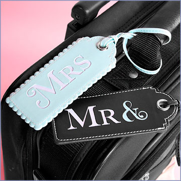 Mindy Weiss Mr. and Mrs. Luggage tags